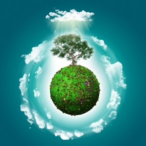 3D render of a grassy globe with a tree and clouds